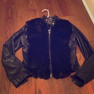 100% genuine leather jacket & Genuine rabbit fur